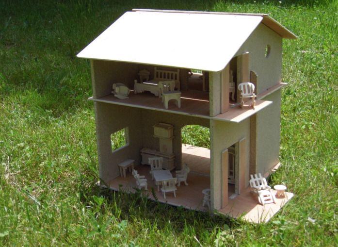 maison de poup e d montable en bois d corer avec 34. Black Bedroom Furniture Sets. Home Design Ideas