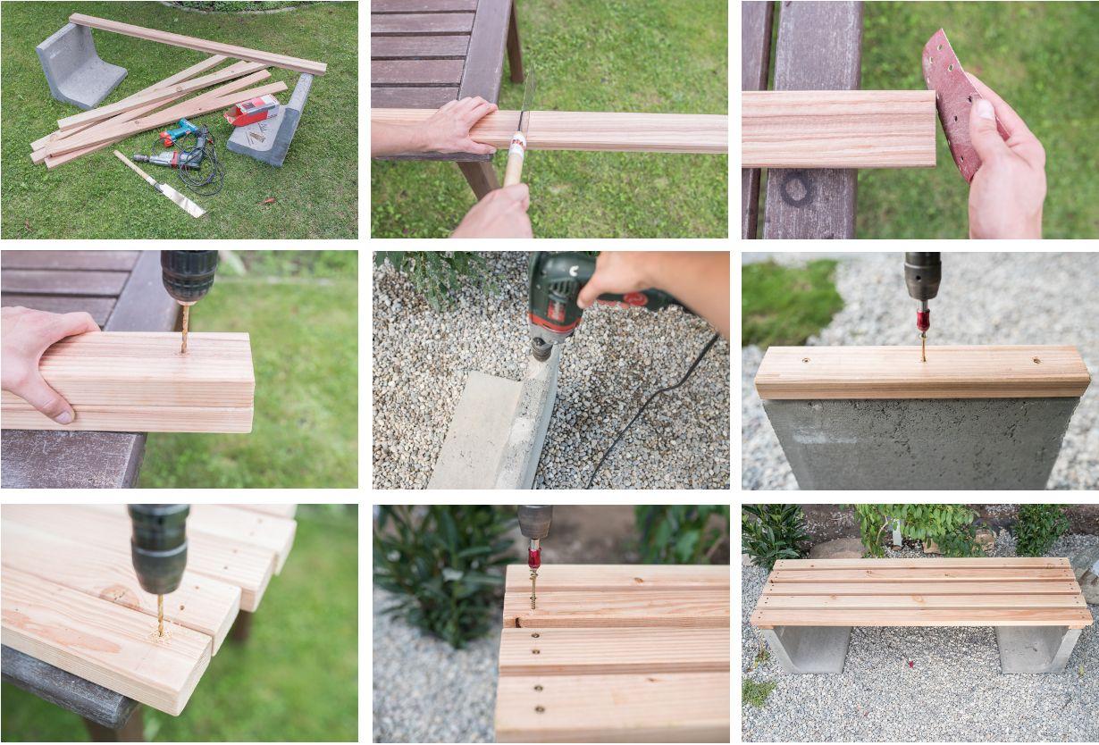 Schritt Für Schritt Anleitung Für Eine DIY Gartenbank Aus Beton Und Holz  Als Low Budget Deko Für Den Garten