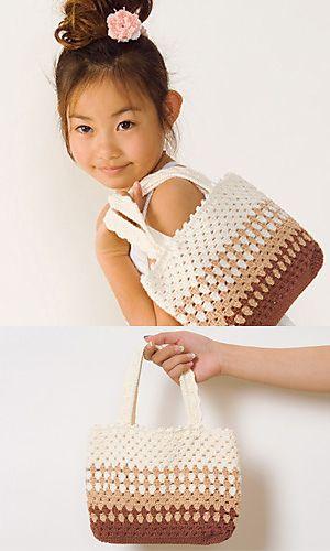 Striped Crochet Bag - free pattern at: http://gosyo.co.jp/english/pattern/eHTML/ePDF/1105/3w/29-32_Striped_Bag.pdf