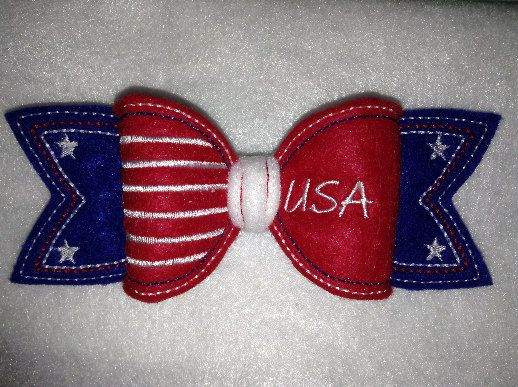 3d bow ith in hoop usa patriotic