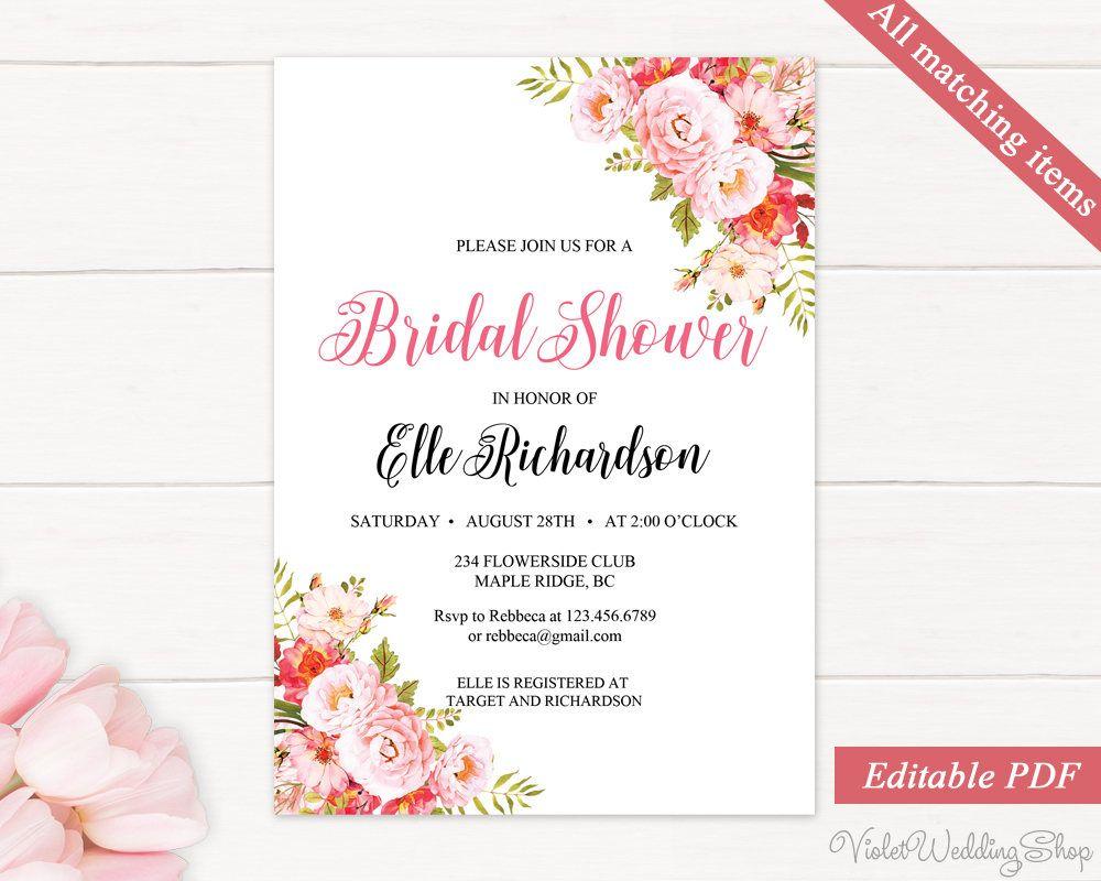 Bridal Shower Invitation Template. Printable Bridal Shower ...