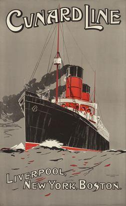 Liverpool to New York & Boston - Cunard Line, c. 1905. Illustrator Unknown...