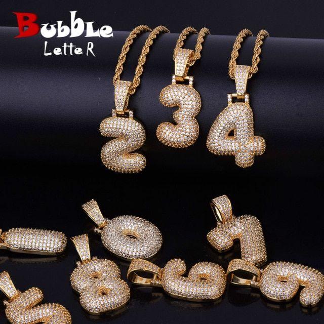 0-9 Custom Name Bubble Numbers Necklaces  de5934952361