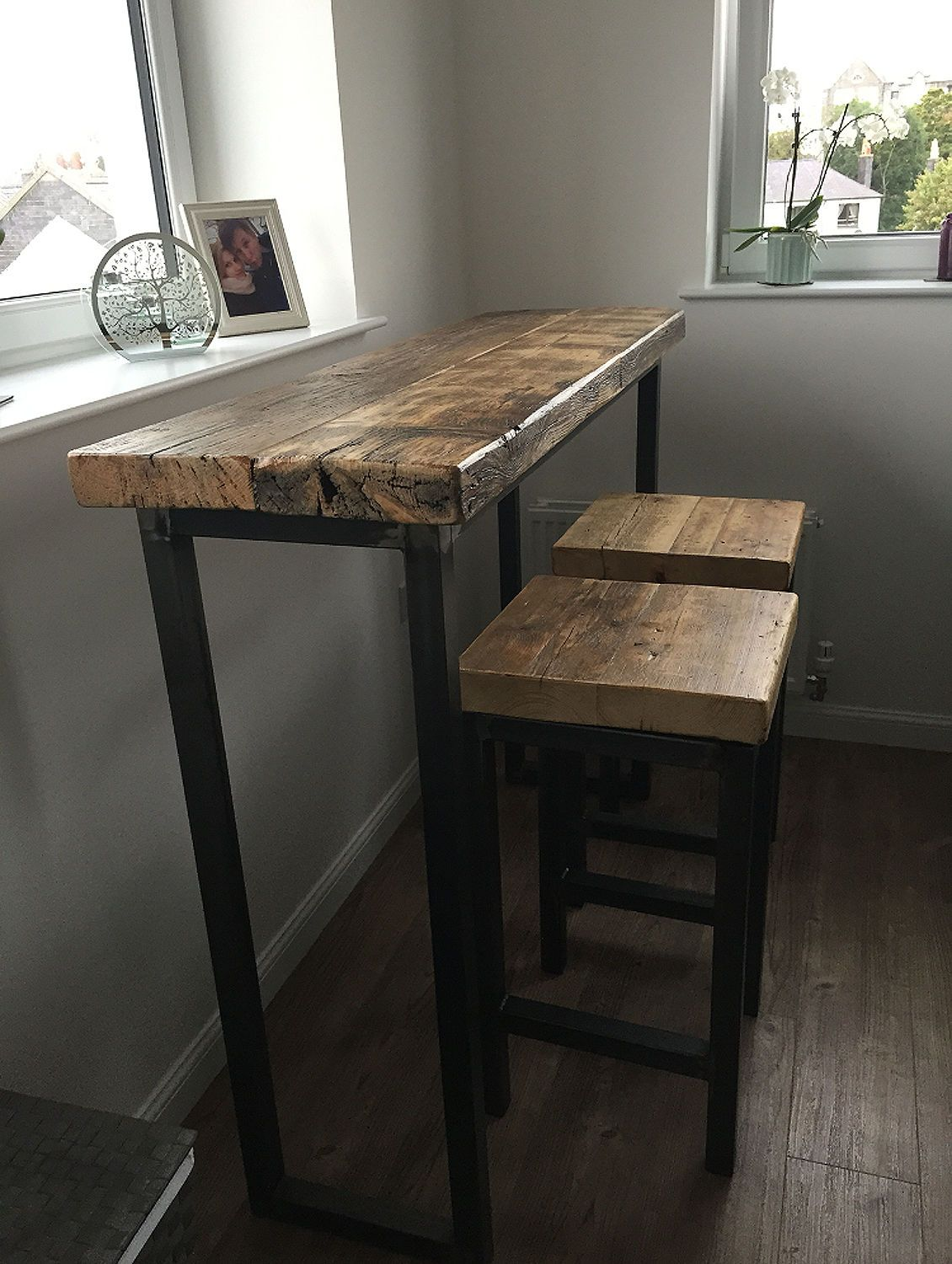 Fine Industrial Mill Reclaimed Wood Breakfast Bar Console Table Gmtry Best Dining Table And Chair Ideas Images Gmtryco