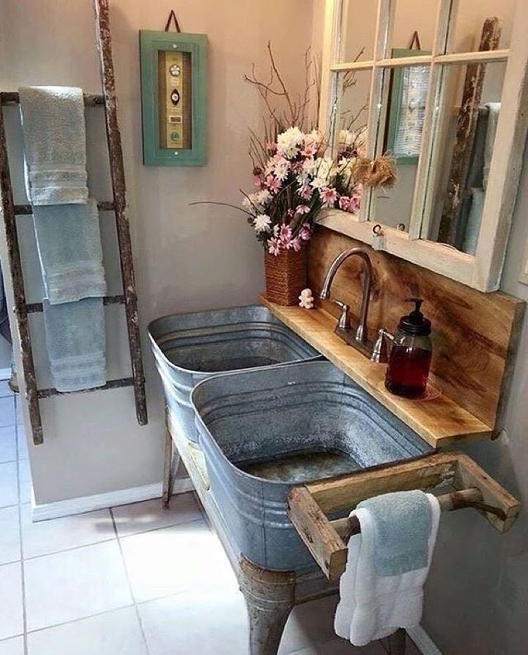 Retour à l\'essentiel avec ce meuble sous vasque rustique ...