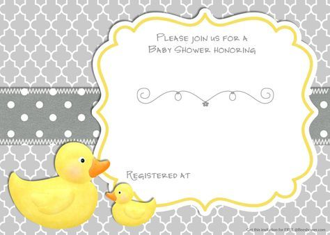 Cool Free Printable Rubber Duck Baby Shower Invitation