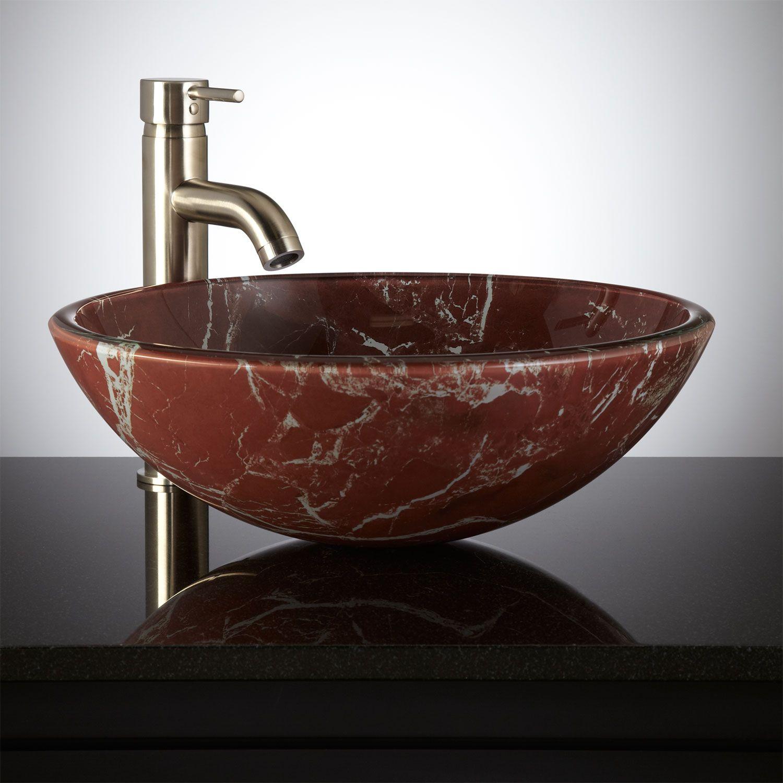 Crackled Red Glass Vessel Sink