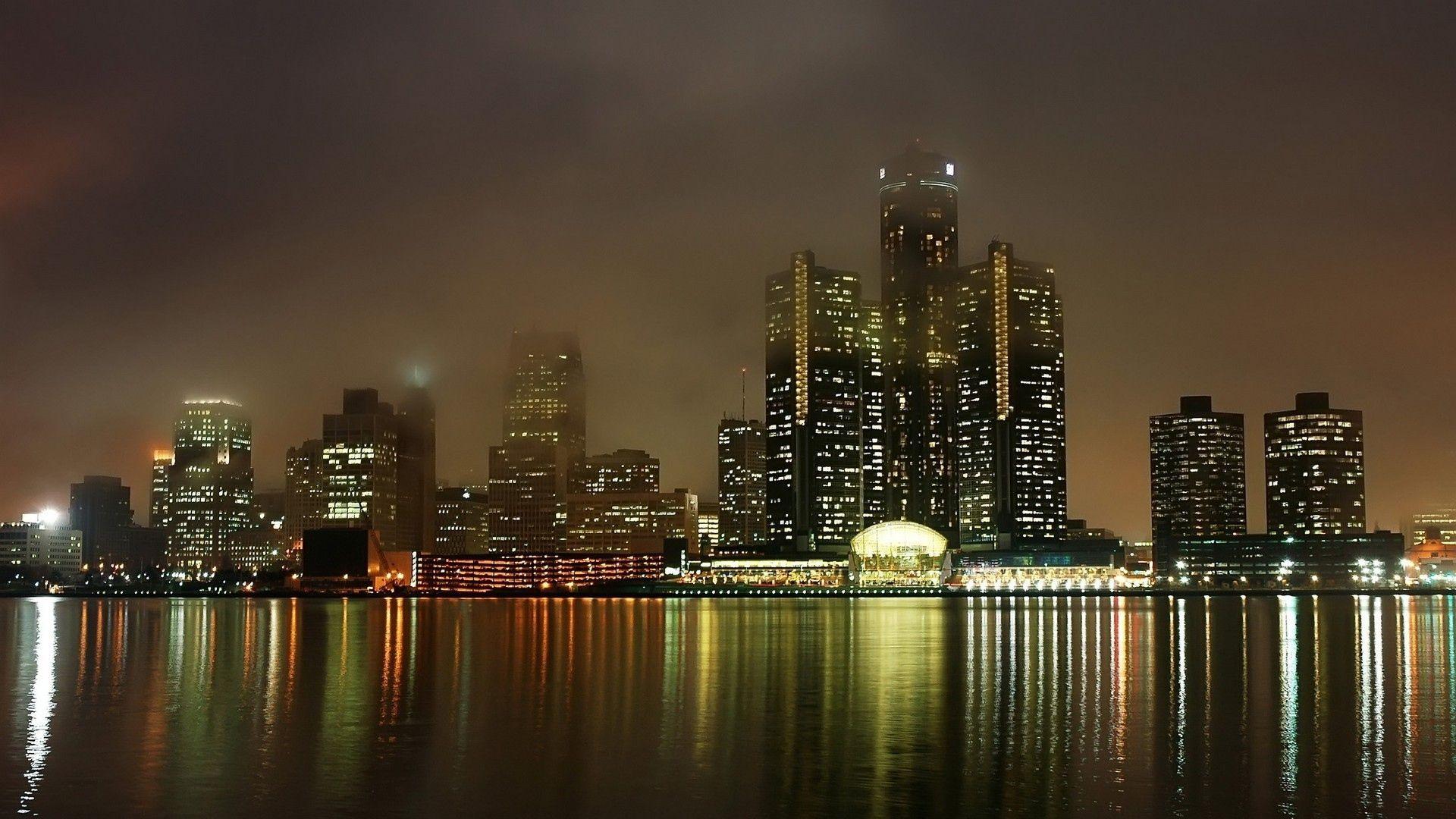 Download Wallpaper 1920x1080 Detroit Michigan Usa Sea Building Bright Full Hd 1080p Hd Background Pemandangan Kota Metropolis Lanskap
