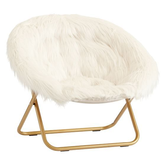 Himalayan Ivory Faux Fur Hang A Round Chair With Images Round