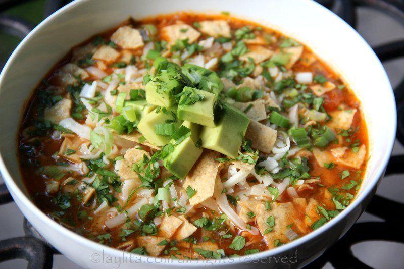 Chicken or turkey tortilla soup recipe - Laylita's Recipes #chickentortillasoup Chicken or turkey tortilla soup #chickentortillasoup
