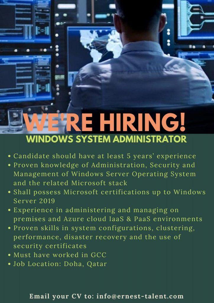 Window System Administrator Qatar Job Openings In 2020 Job