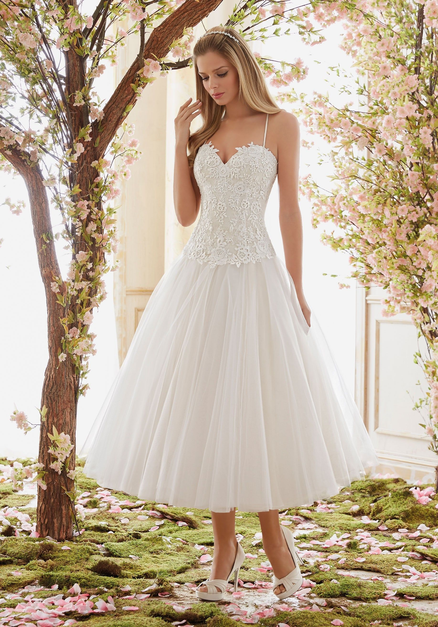 lace and tulle tea length wedding dress
