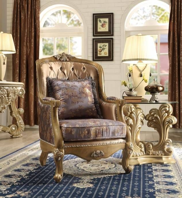 Homey Design HD 1302 Traditional Victorian Golden Brown Mixed Fabric Tufted  Chair Reviews HD 1302 C