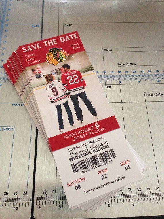 Chicago Blackhawks Ticket Wedding Save the Dates    stationary - event ticket ideas