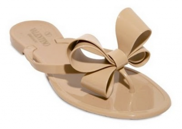 8f257df59a1076 Valentino Bow Jelly Flip Flop. You can buy identical flip flops at Fringe  in nude