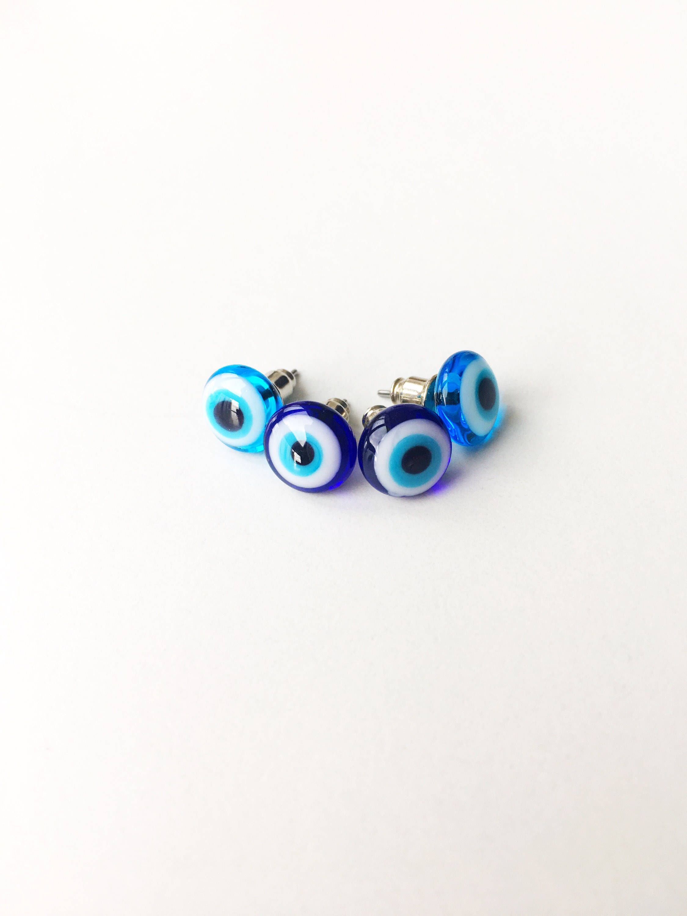 Turquoise Blue /& white crystal greek turkish evil eye protection gold earrings