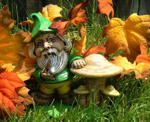 Gnome Or Leprechaun With Mushroom Garden Statue By SueSueSueCrafts