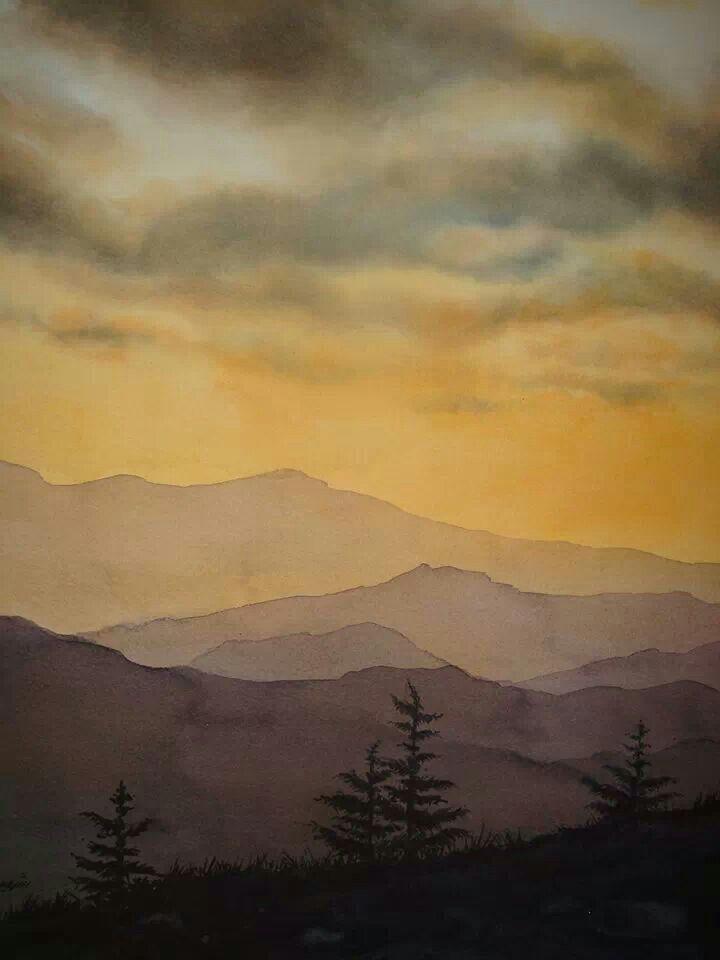 Watercolor Landscape Mountains Evening Watercolor Landscape Paintings Watercolor Landscape Landscape Paintings