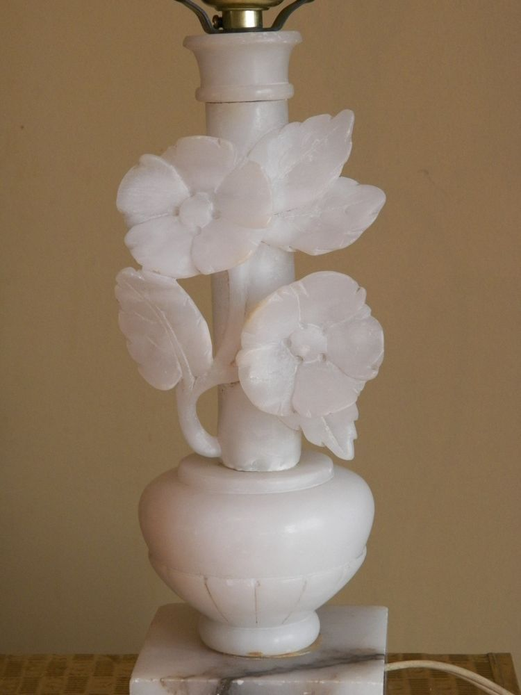 Alabaster Marble Carved Flowers Antique Lamp Base Antique Lamp