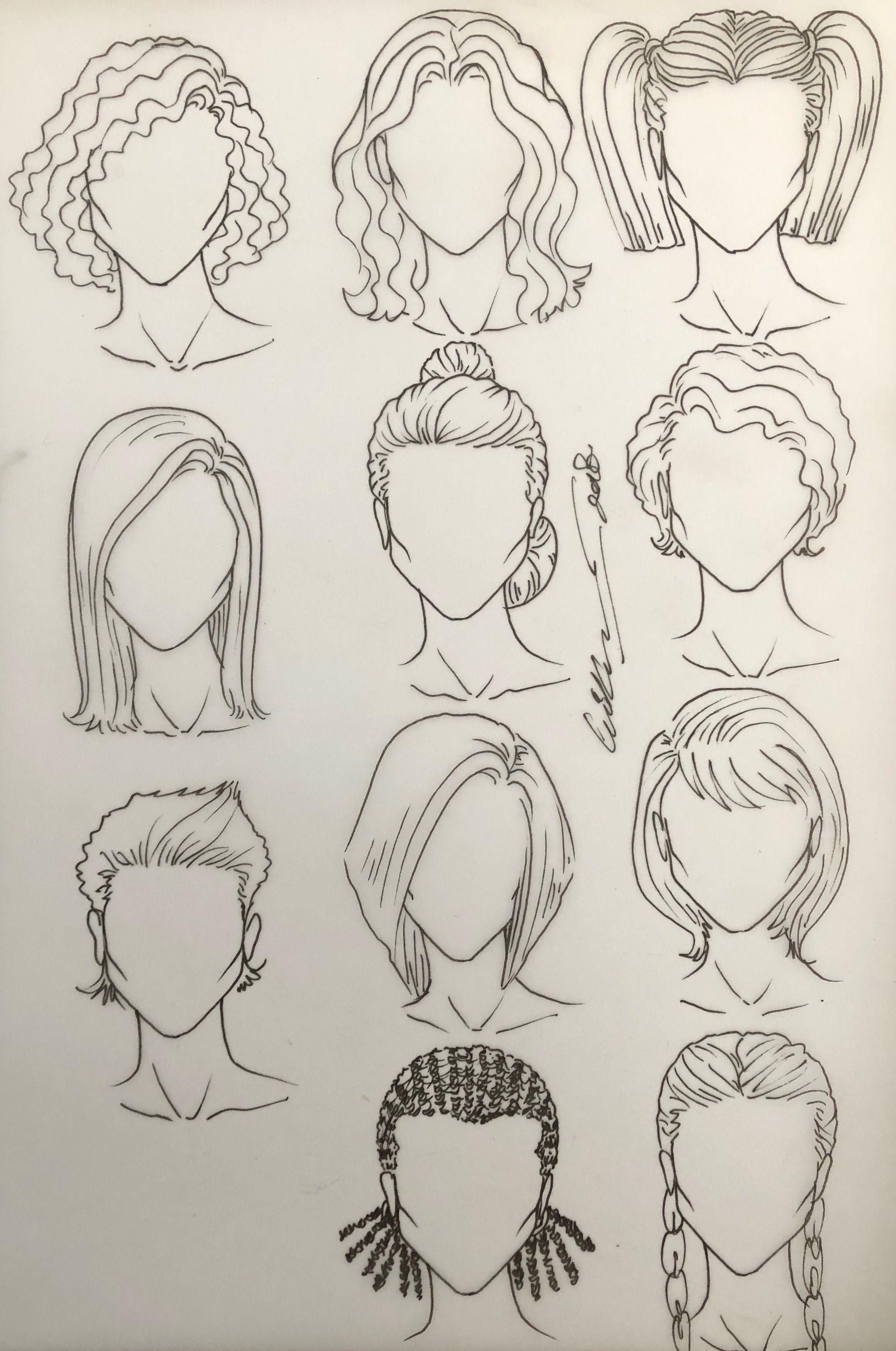 Kvinnelige frisyrer - #hairstyle #female  Tegne hår