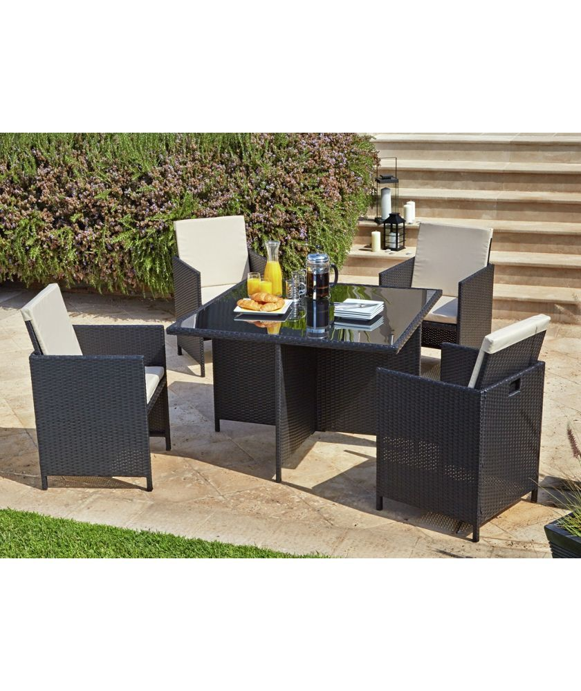 Buy cube rattan effect 4 seater patio set black at argos co uk your online shop for garden table and chair sets limited stock home and garden