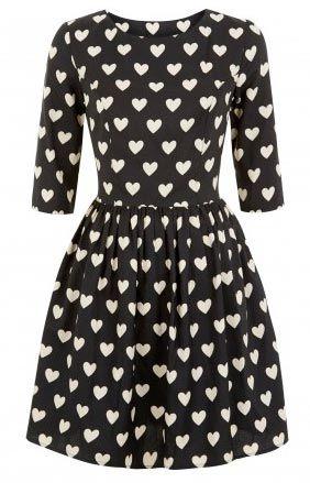 33b7808d9 Vestido Primark en blanco y negro con corazones | San Valentin en ...