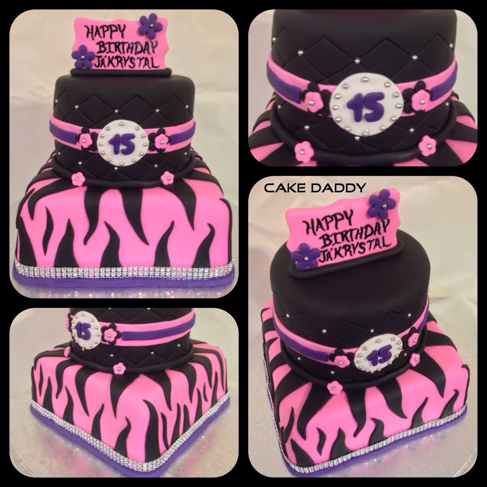 Strange Pink Purple And Black Zebra Print Birthday Cake With Images Personalised Birthday Cards Veneteletsinfo