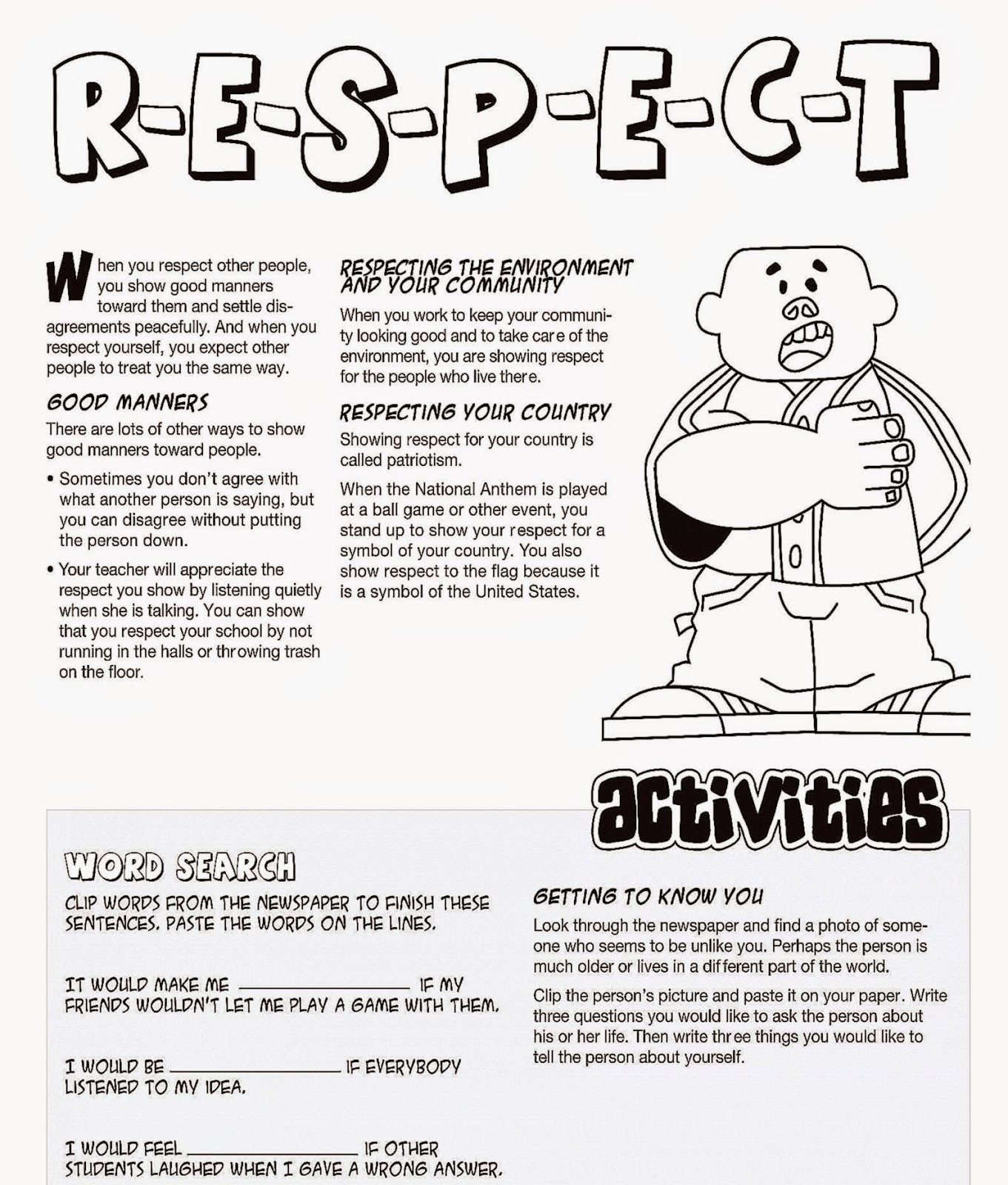 Image Result For Free Coloring Page Respect
