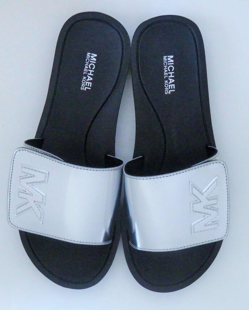 9023ee23523a Michael Kors MK Slides Mirror Metallic Sandals Silver Size 8M New   MichaelKors  Slides