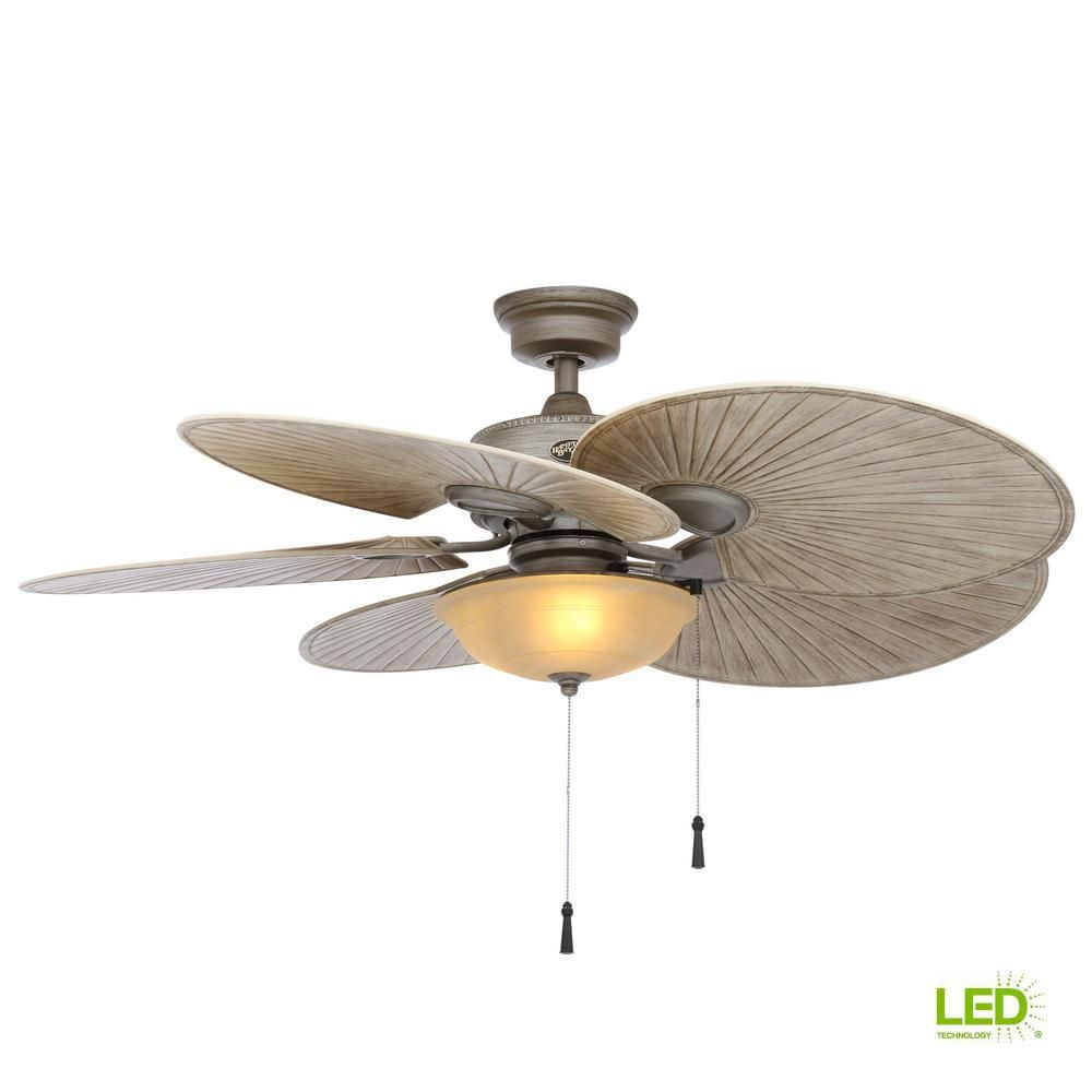 Hampton Bay Havana 48 In Led Indoor Outdoor Cambridge Silver Ceiling Fan With Light Kit 51328 The Home Depot In 2020 Ceiling Fan With Light Silver Ceiling Fan Ceiling Fan