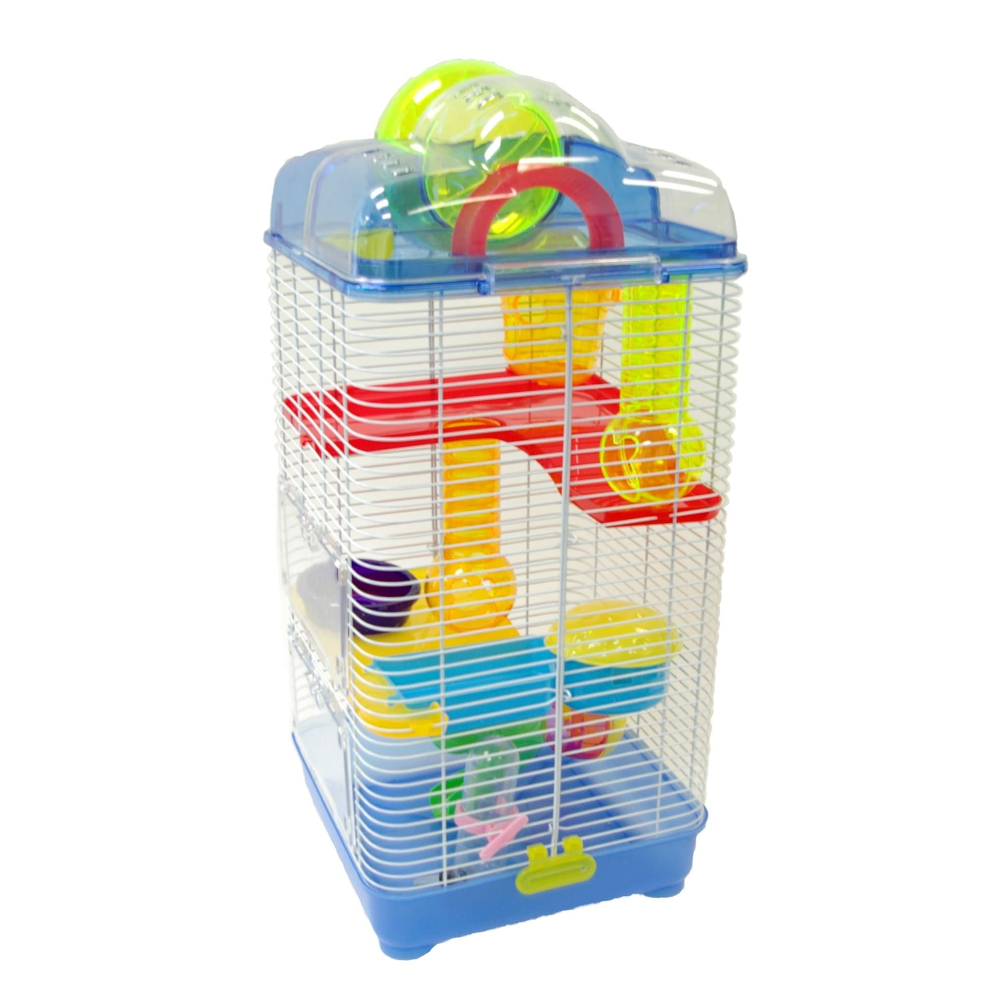 Yml 3 Level Plastic Clear Blue Hamster Cage 10 L X 10 W X 23
