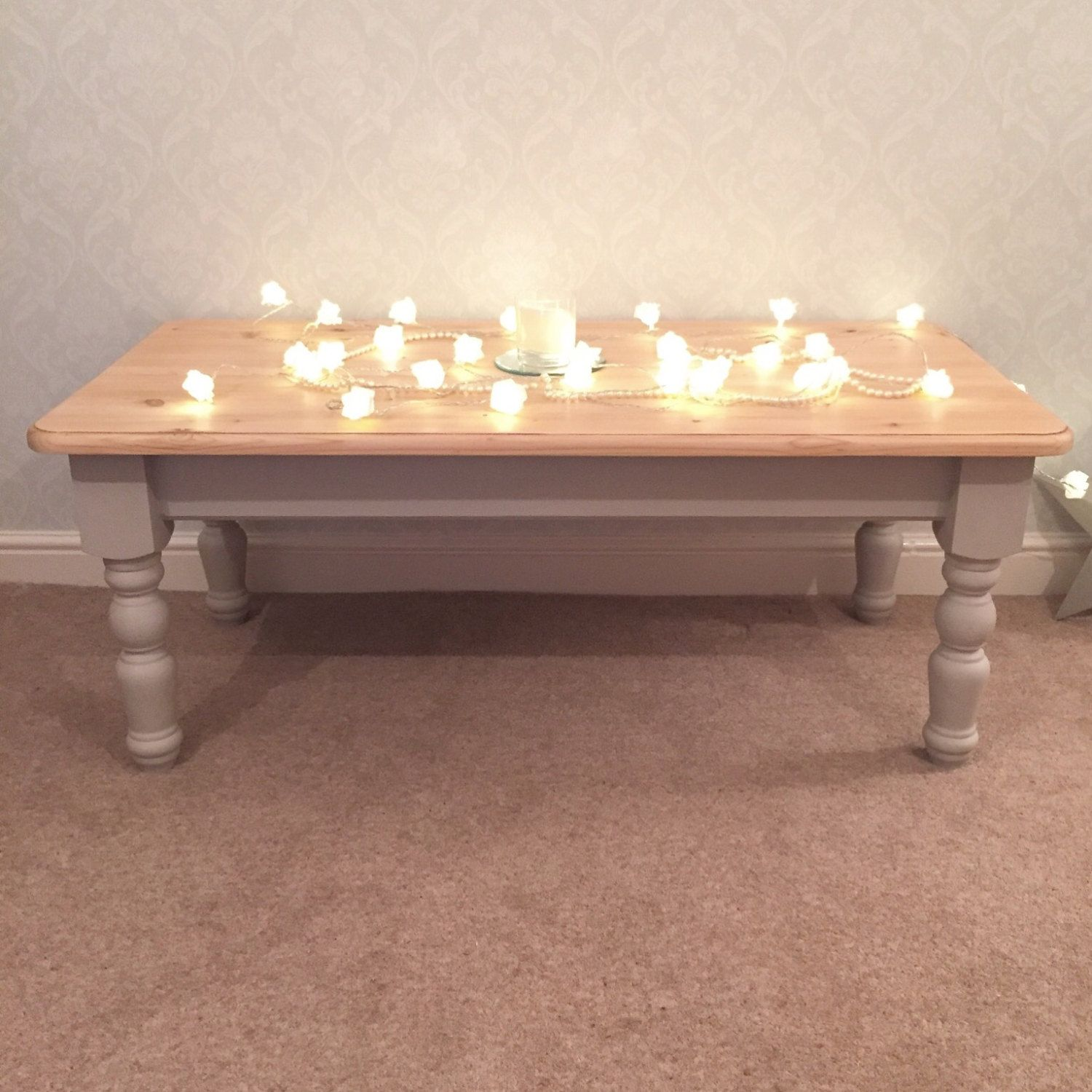 Stunning Country Solid Pine Coffee Table in Annie Sloan Grey