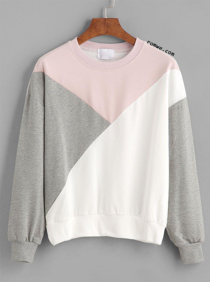 Color block drop shouder sweatshirt kleding pinterest pink