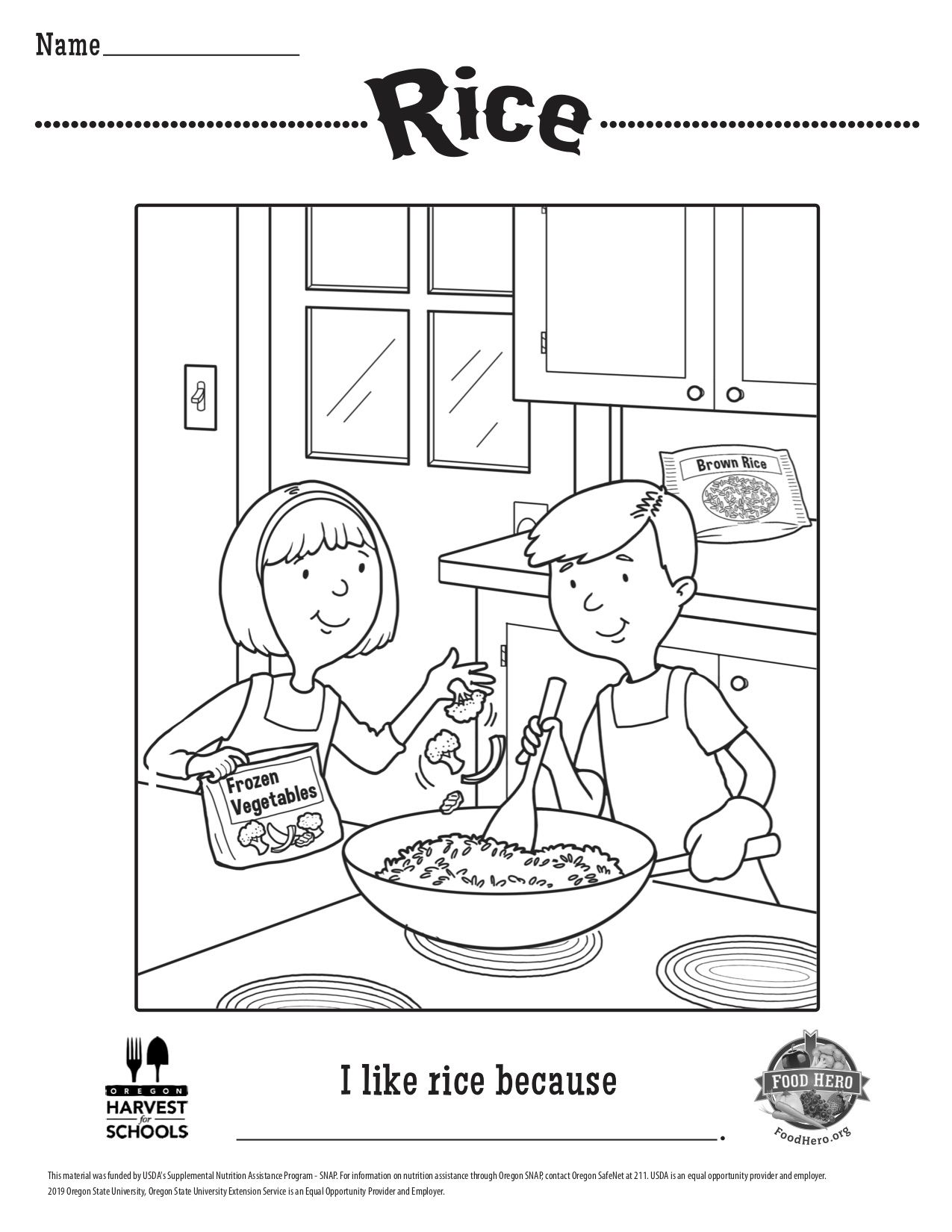 Pin By Food Hero Oregon State Univers On At Home Activities Coloring Sheets Rice Color