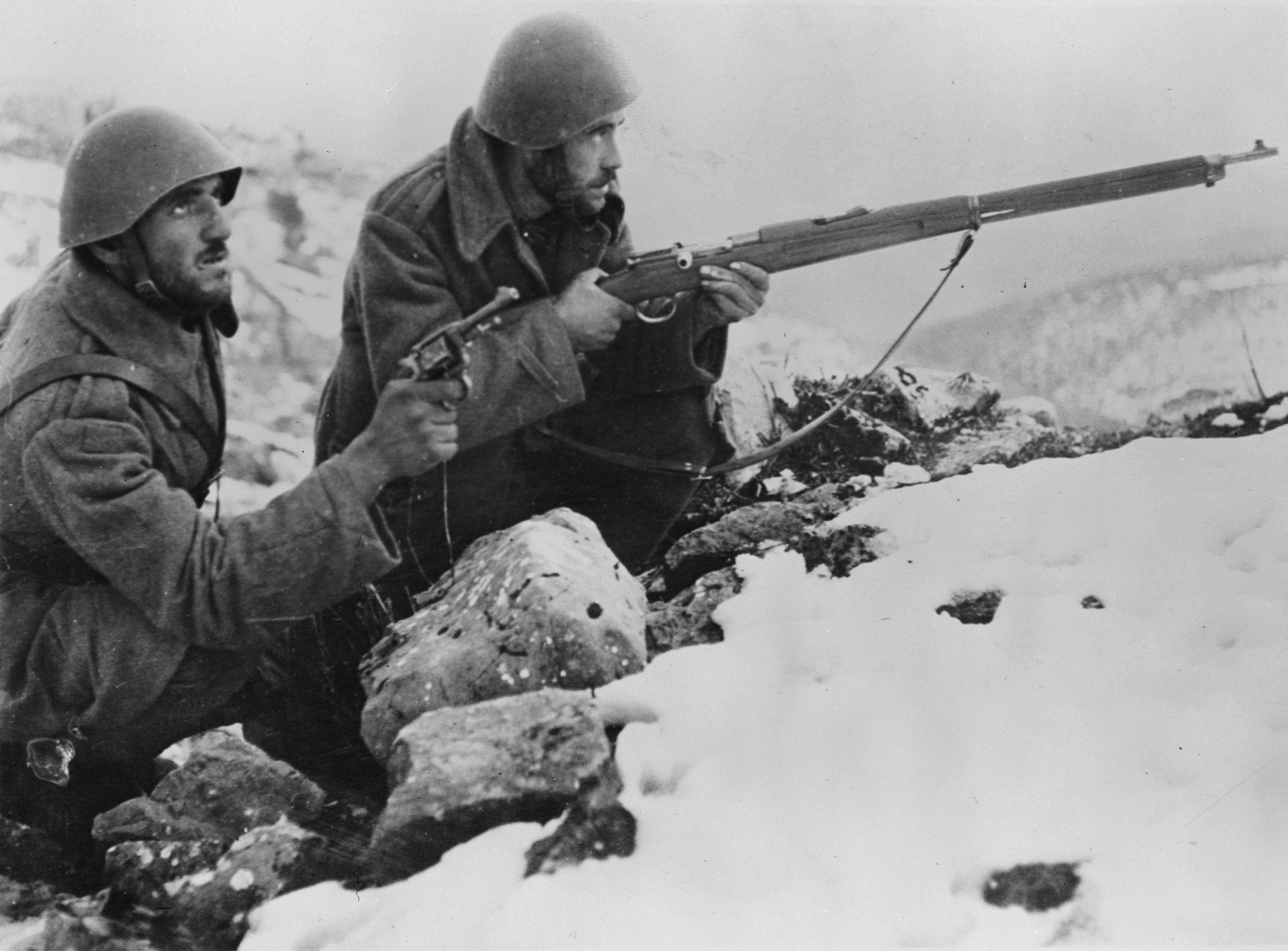Greek soldiers on the mountains of Albania fighting the Italian fascist invasion of Greece, winter 1940-41.