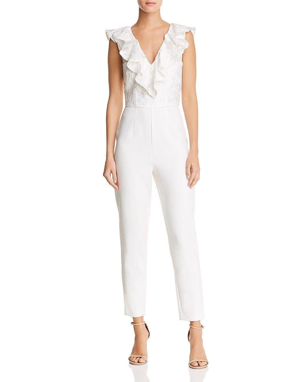 cb63c76d764 Keepsake Radar Ruffled Jumpsuit - white wedding jumpsuit
