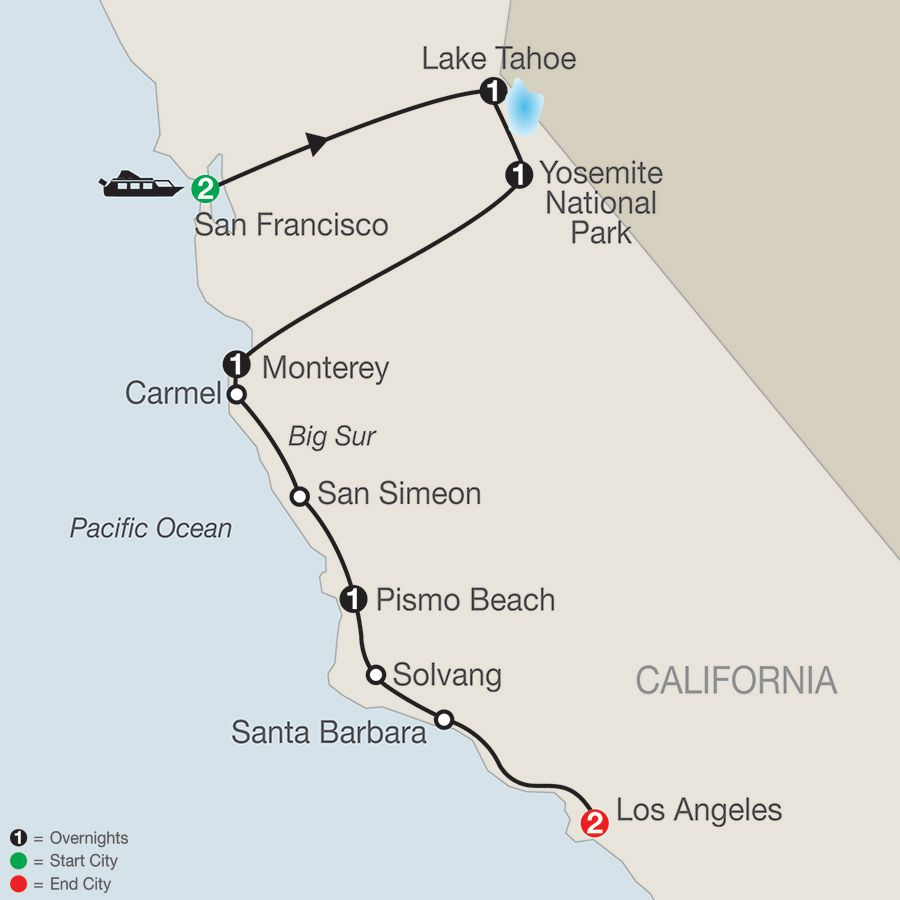Tour Of California Globus Tour Packages FAMILY VACATION - California map from san francisco to la