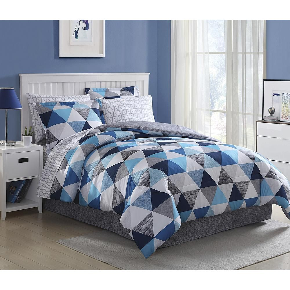 Modern Gray Blue Geometric Triangles Comforter Set Sheets Bed In A Bag Bedding Ebay