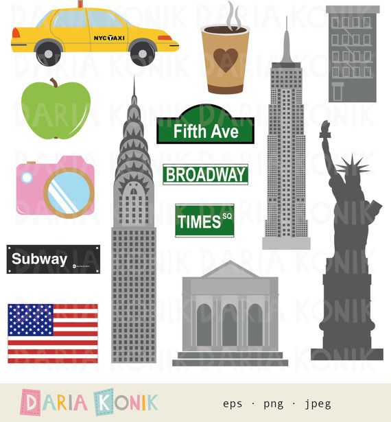 New York Clip Art Set-city clipart, America, USA, travel clipart ...