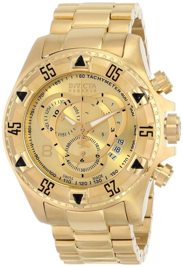 inivicta watches : Invicta Men's 6471 Excursion Reserve Chronograph 18k Gold Ion-Plated Stainless Steel Watch