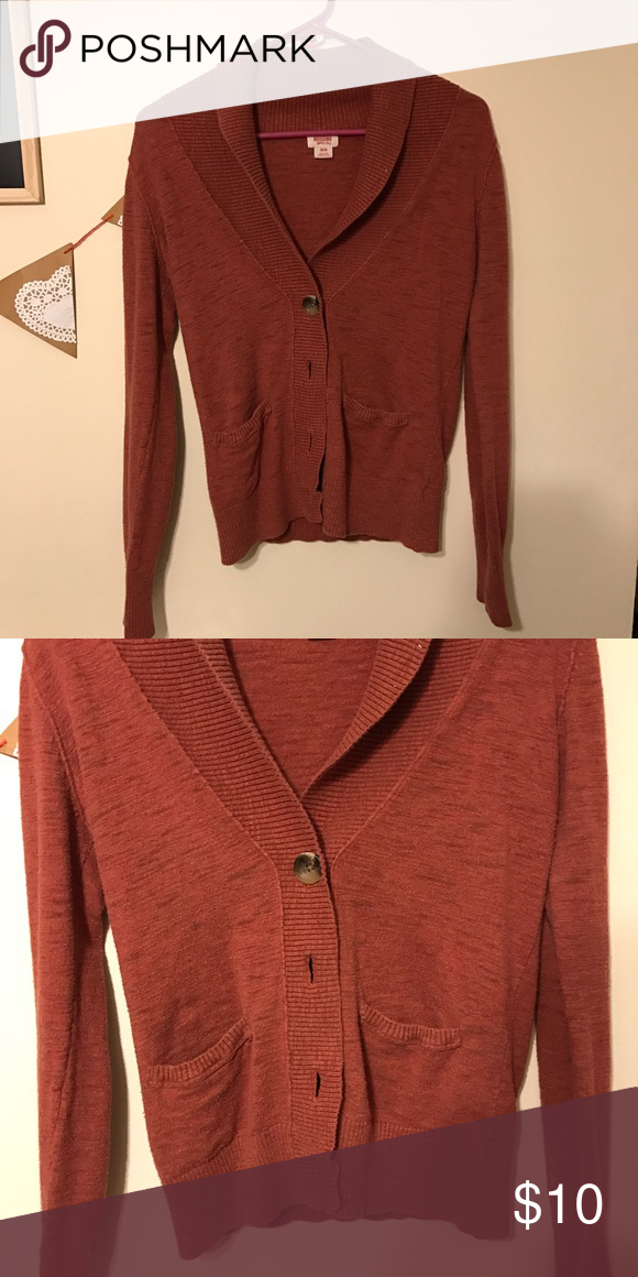 67a945929f Knit Cardigan A dark orange color, with big tortoise buttons and two front  pockets. Really nice cowl style neckline. Comfy and true to size.