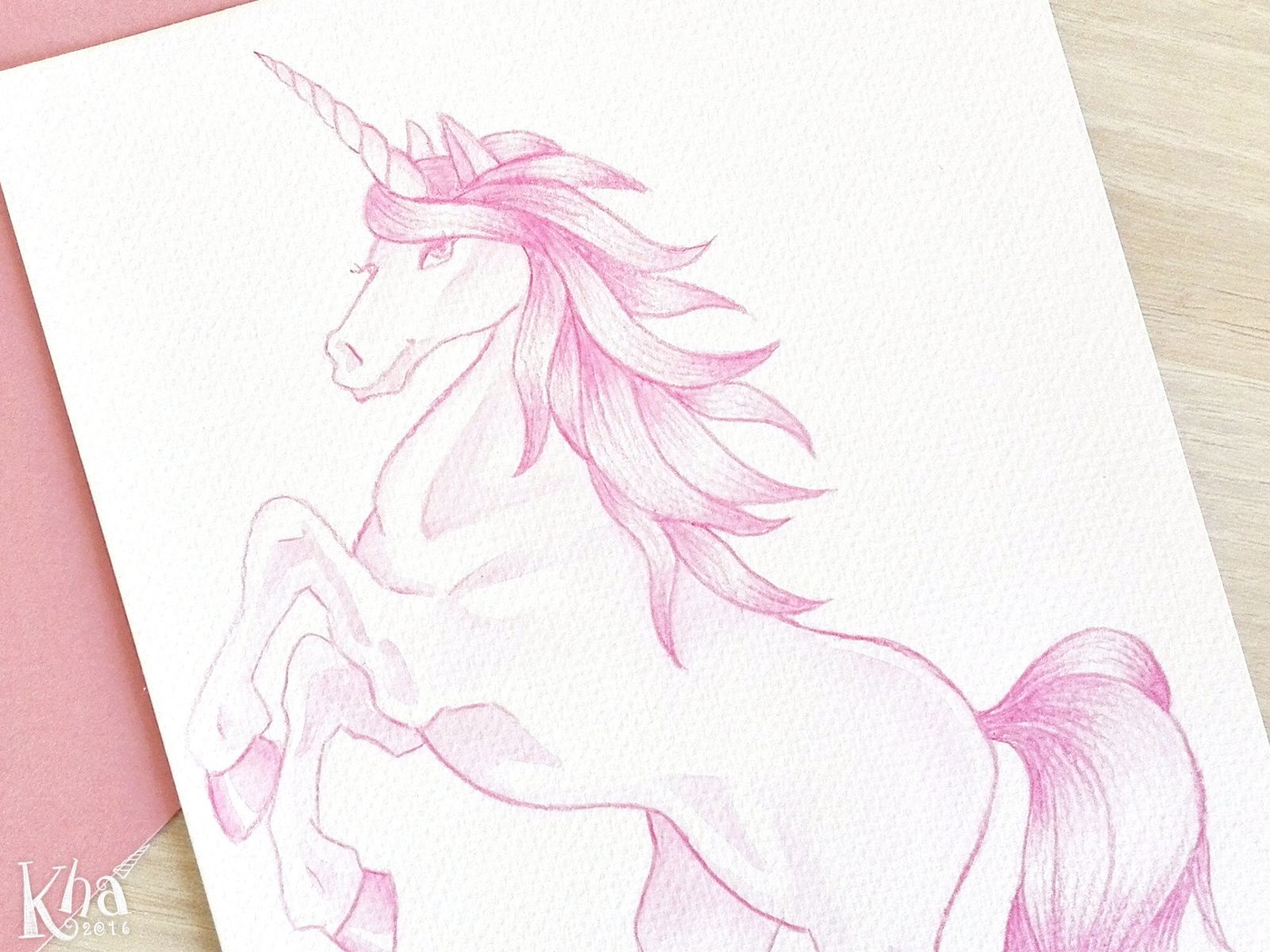 Pink unicorn watercolor drawing Dessin   l aquarelle licorne rose