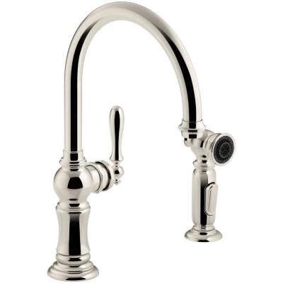 KOHLER Artifacts Single Handle Swing Spout Side Sprayer Kitchen Faucet In  Vibrant Polished Nickel