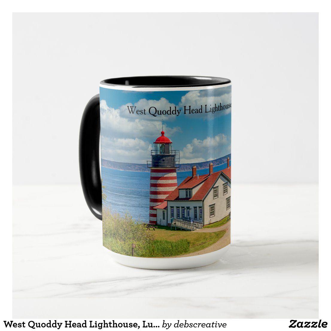 West Quoddy Head Lighthouse Lubec Maine Mug Zazzle Com Mugs Dinnerware Set Lighthouse