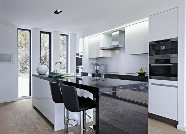 73 idées de cuisine moderne avec îlot, bar ou table à manger - cuisine avec ilot central et table