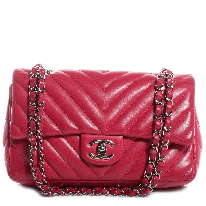 49c7d59145a4 Fashionphile - CHANEL Lambskin Surpique Chevron Medium Flap Dark Pink