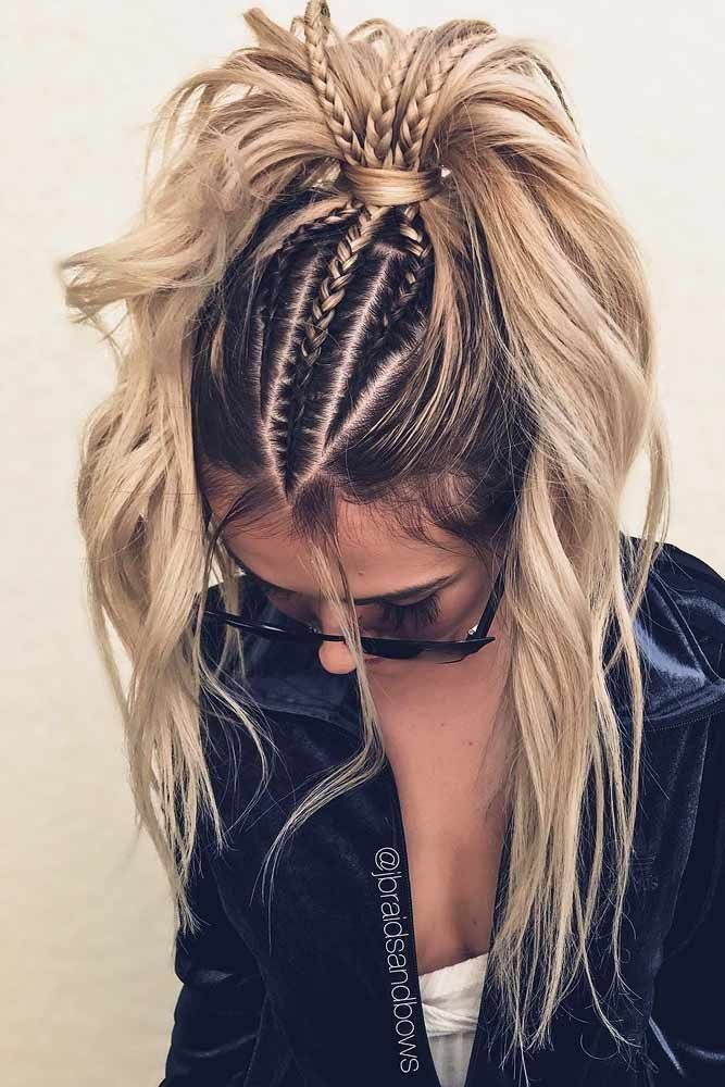 # tight Braids hairdos 27 Lovely Ponytail Ideas To Wear For Any Occasion | LoveHairStyles.com #messyupdos