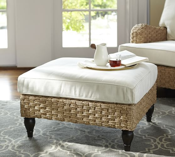 Fisher Woven Seagrass Ottoman | Pottery Barn | Furniture | Pinterest