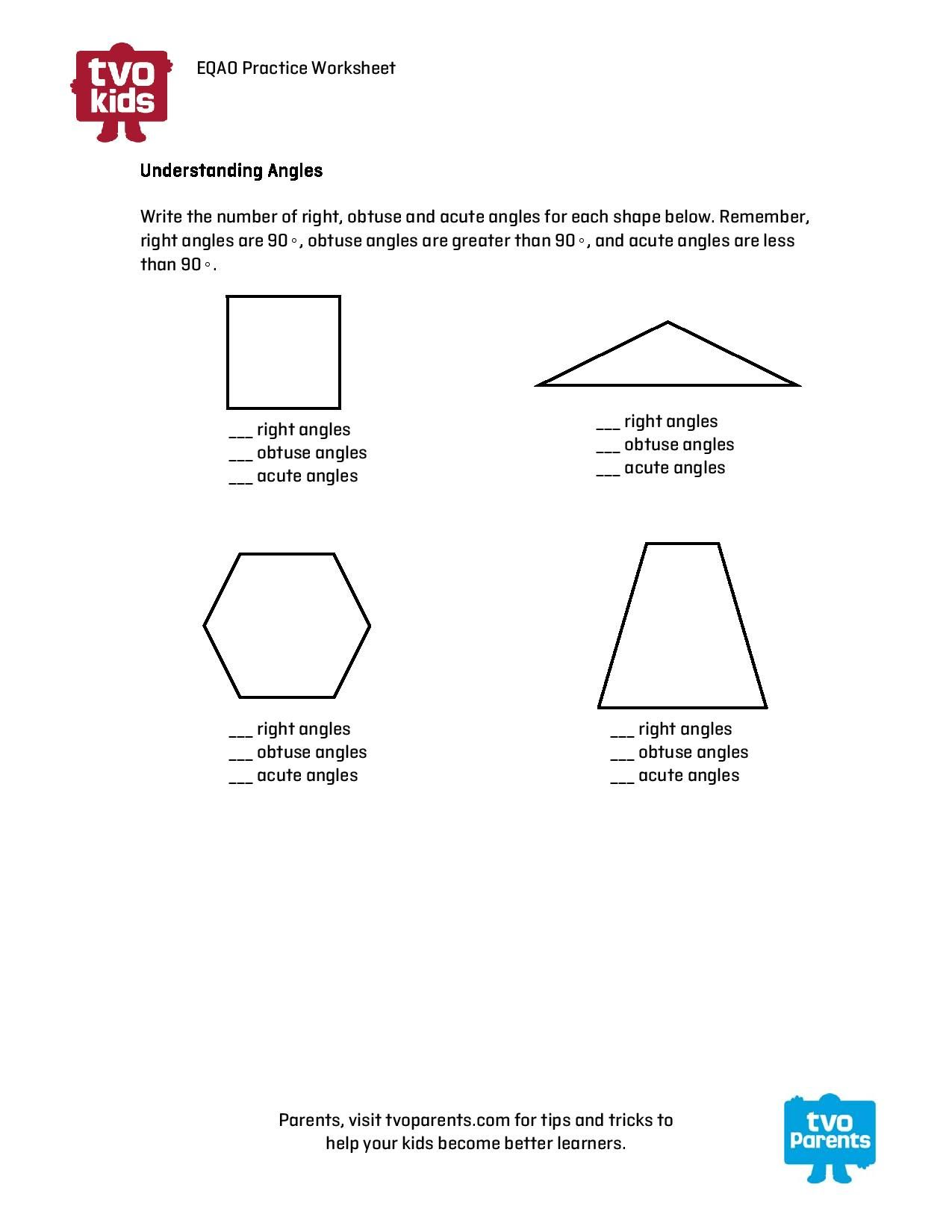 Types Angles Math Worksheet
