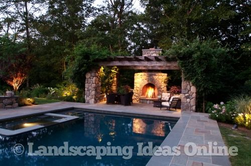 Pergola at End of Swimming Pool Fireplaces Firepits Gallery